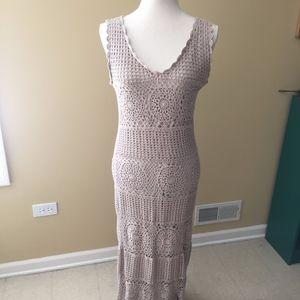 Beige Crochet Dress with Jacket